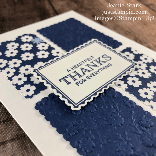 Stampin' Up! Punch Party thank you note card idea with Paper Blooms and Rectangle Postage Stamp Punch - Jeanie Stark StampinUp