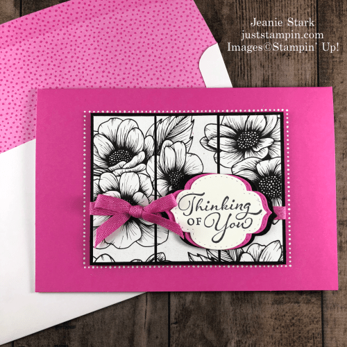 Stampin' Up! Happy Thoughts Thinking of You card idea with Stitched So Sweetly Dies and True Love Designer Series Paper - Jeanie Stark StampinUp