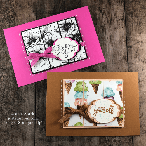 Stampin' Up! Memories & More In Color Card ideas with True Love and Ice Cream Corner Designer Series Paper - Jeanie Stark StampinUp