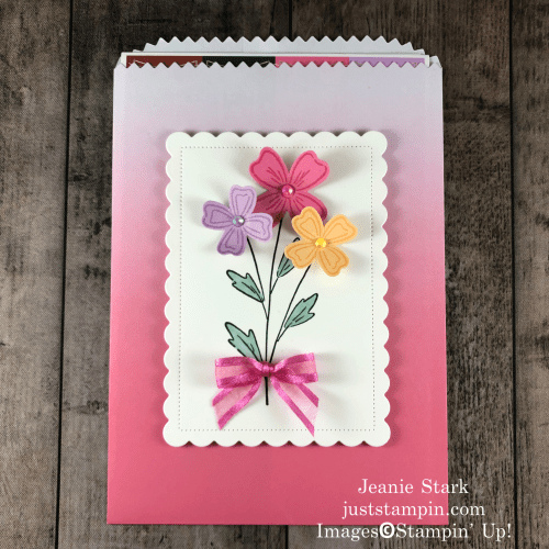 Stampin' Up! Flowers of Friendship Ombre Gift Bag ideas using the 2021-2023 In Colors and Scalloped Contour Dies - Jeanie Stark StampinUp