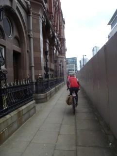 Avoiding the Metrolink works next to The Midland Hotel