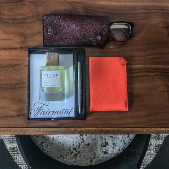 Fragrance: Clean Reserve, Leather Glasses Case: Ferragamo, Passport Cover: Hermes
