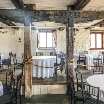 Original beams and walls in the event space