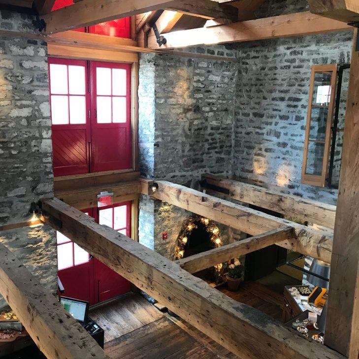 Original beams and walls in Chez Muffy