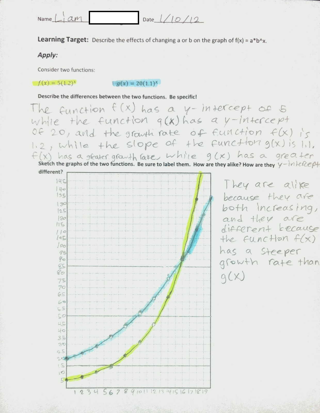 Exponential Function Growth And Decay Worksheet