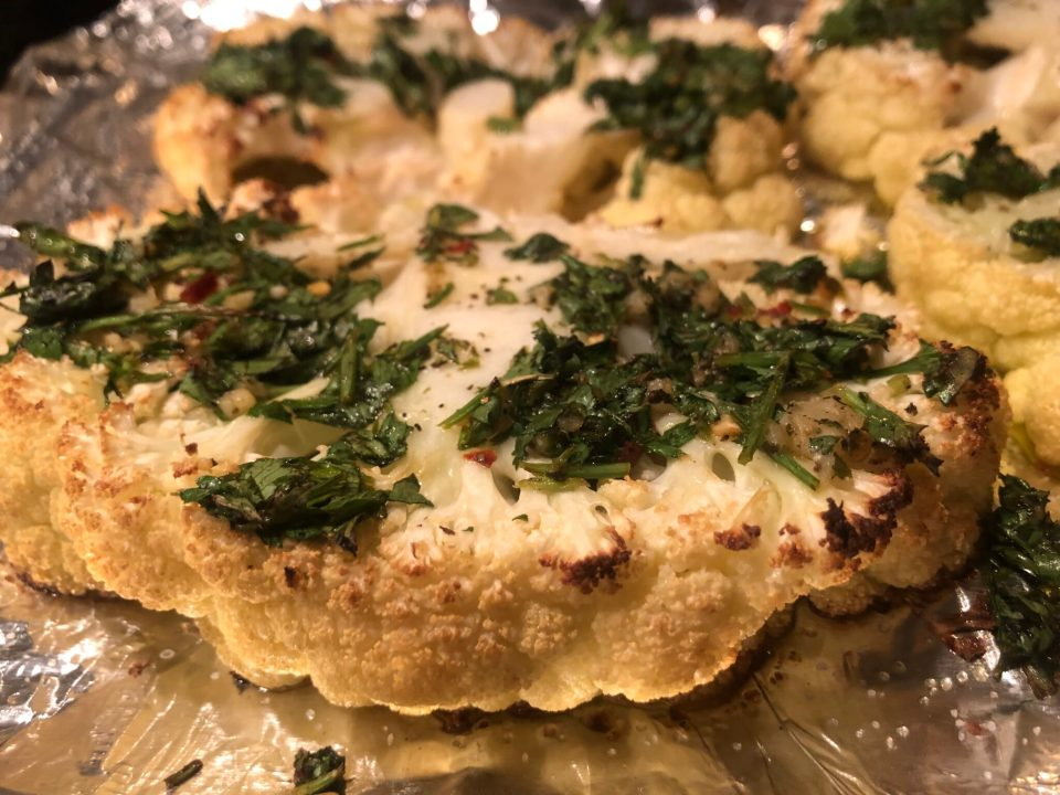 Grilled Chimichurri Cauliflower Steaks are my new obsession! Easy summer BBQ Keto friendly side dish recipe
