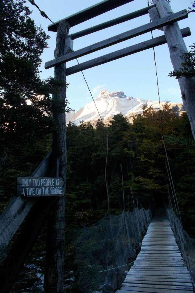 Bridge crossing into Camp Italiano, Torres del Paine National Park