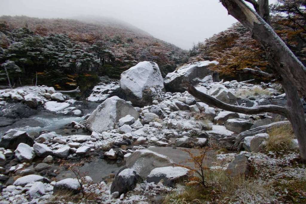 The snowy scenery in the French Valley, Torres del Paine National Park