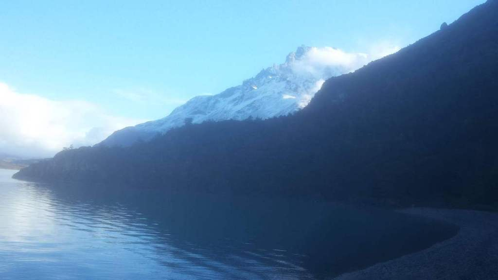Views of the mountains by a lake in Torres del Paine National Park
