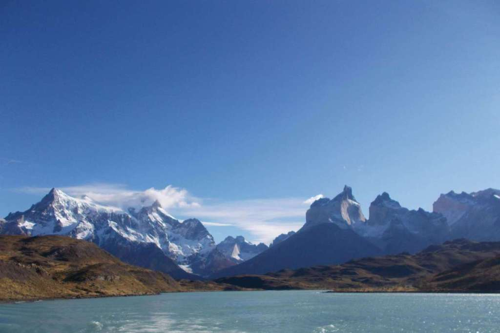 The view from the ferry across Lake Pehoe, Torres del Paine National Park