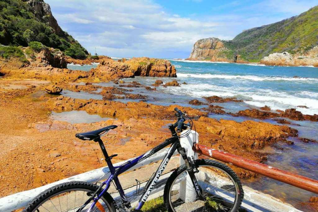 Bike looking out at the entrance to the lagoon in Knysna