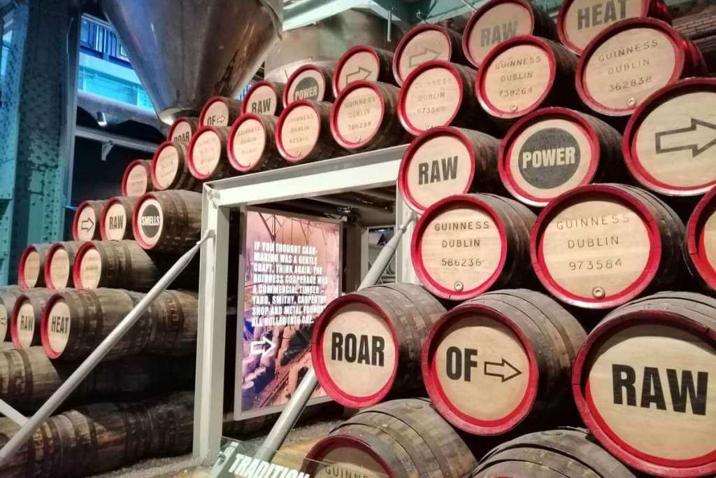 Stacked barrels on the Guinness Storehouse tour