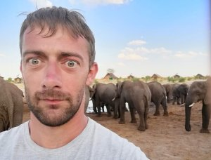 Selfie with a herd of elephants at Elephant Sands, Botswana