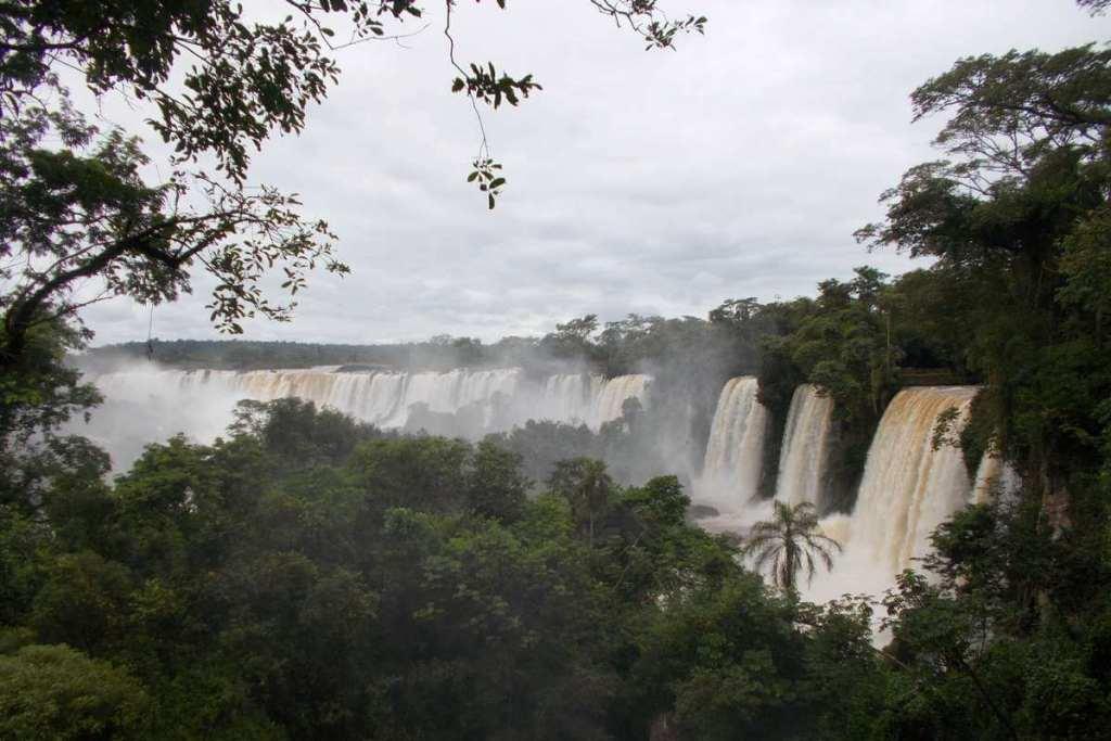Looking across Iguazu Falls