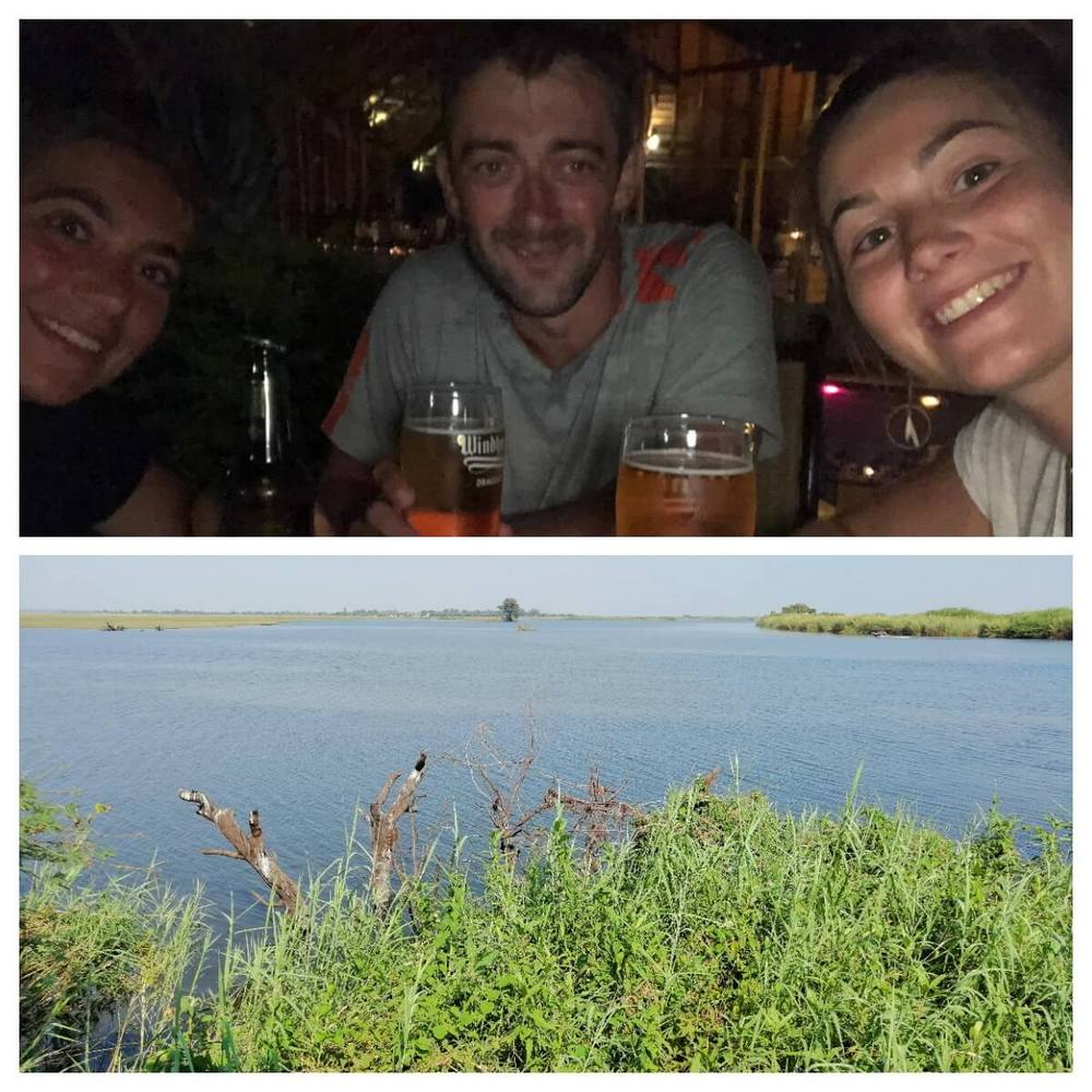 A couple of beers and a great view over the Chobe River for breakfast