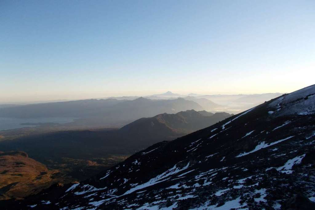 View of distant mountains from the side of Mount Villarica