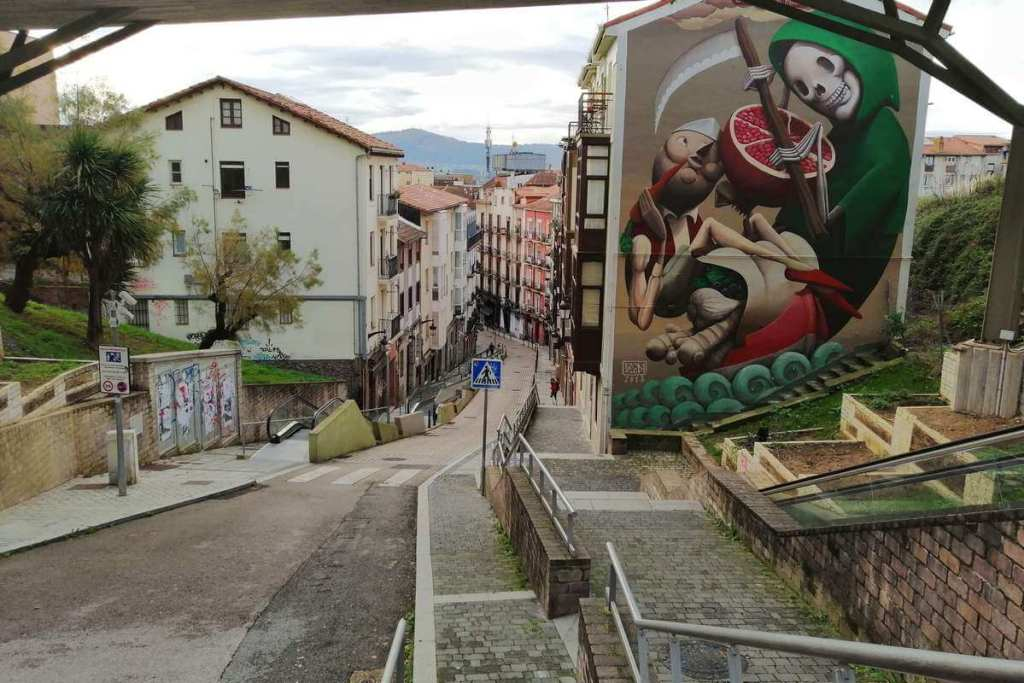 Street art at the top of Calle Rio de la Pila, Santander