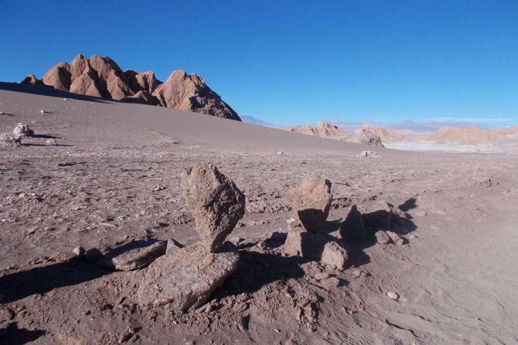 Balanced rocks in the moon-like landscape of the desert