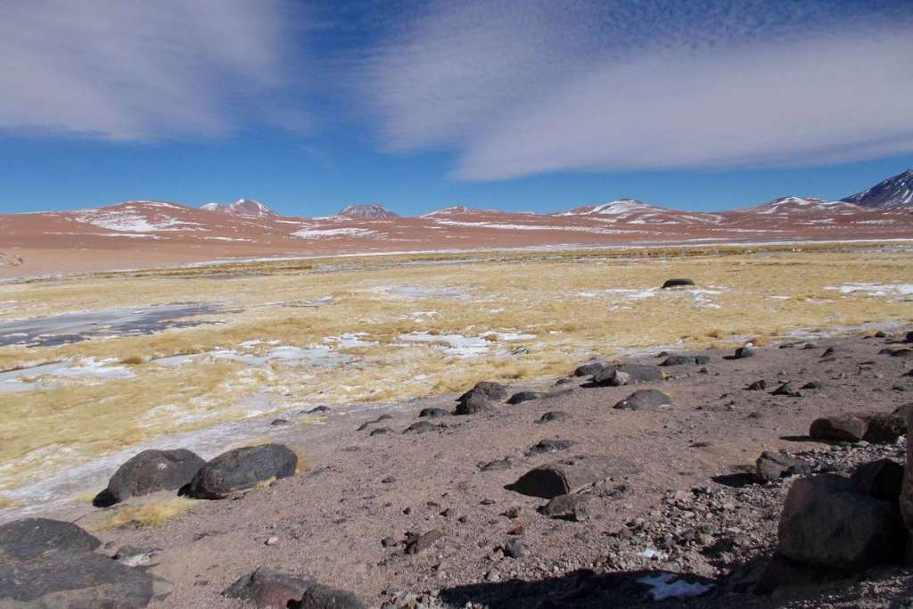 Sharp contrasting bands of colour in the Atacama Desert