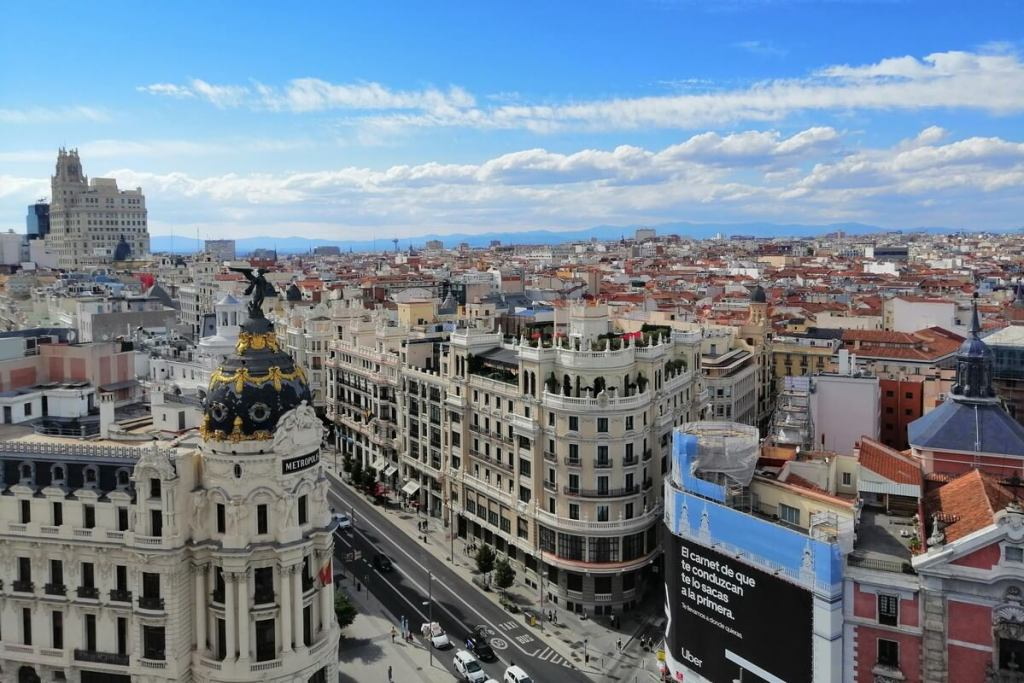 The view from Bellas Artes in Madrid