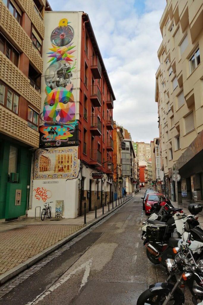 Santander street art by Okuda San Miguel