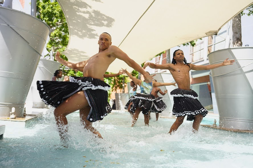 Vuyani Dance Theatre dancers in Xibelani skirts and David Tlale swimwear. Image: Henry Marsh