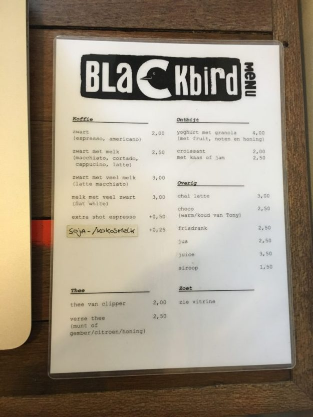 Blackbird Cafe Menu 2016