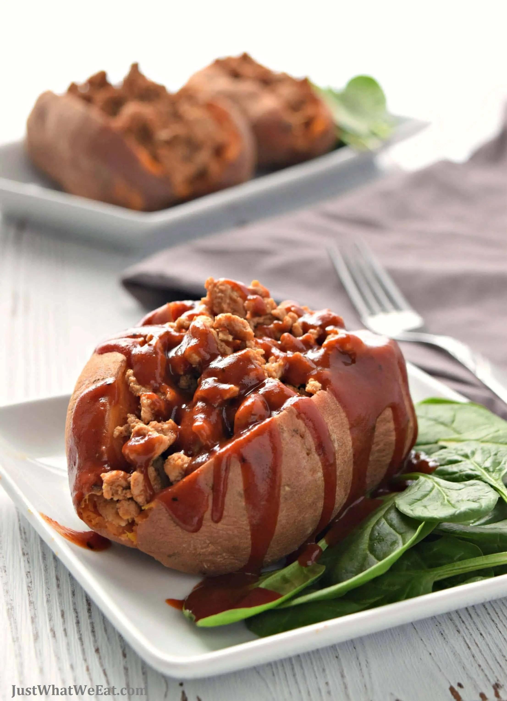 bbq turkey stuffed sweet potatoes gluten free and dairy free