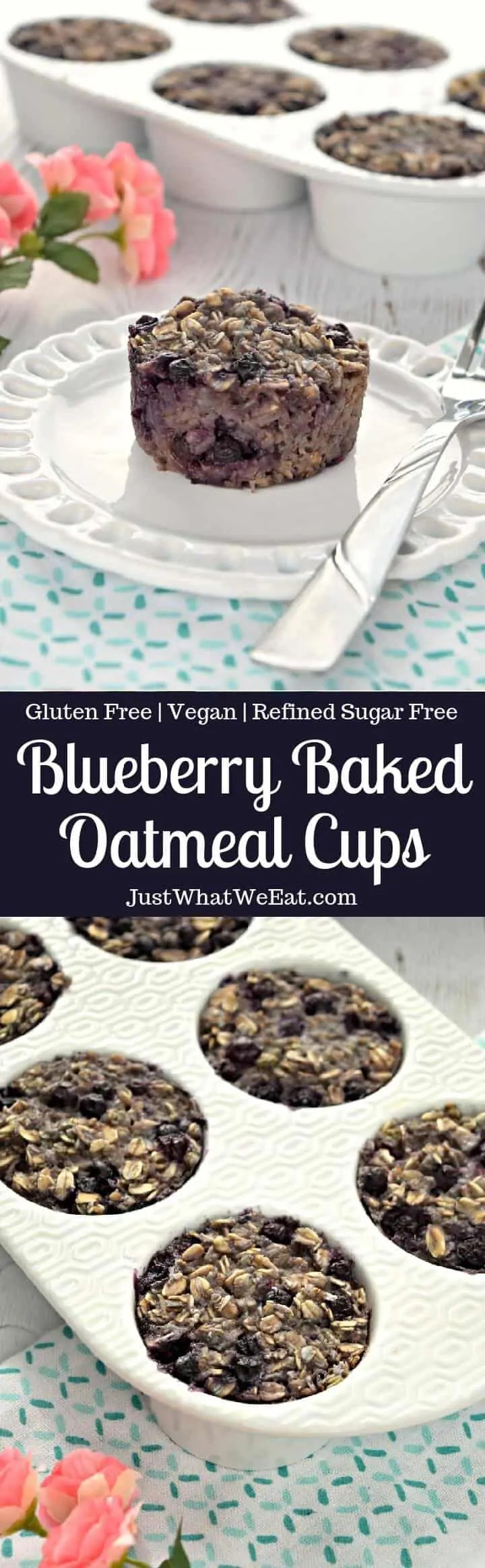 Blueberry Baked Oatmeal Cups - Gluten Free, Vegan, and Refined Sugar Free