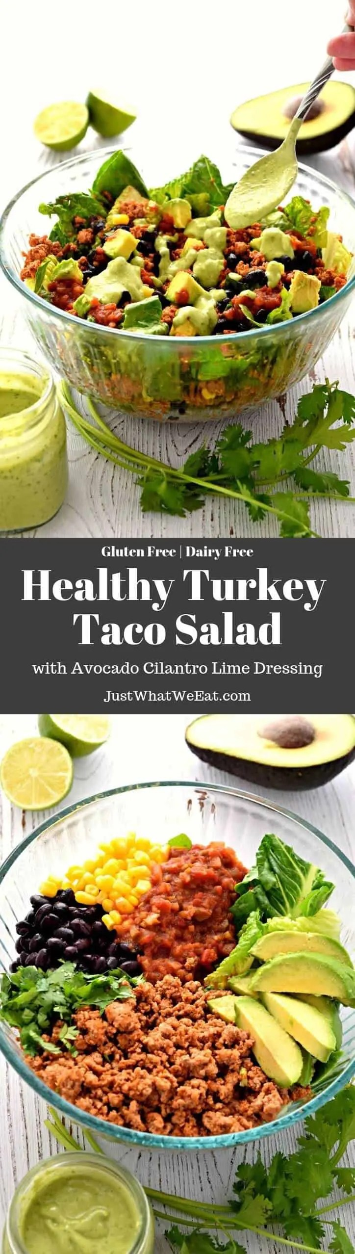This gluten free and dairy free Turkey Taco Salad is the perfect healthy meal! It's super easy to make and works great for meal prep or a quick weeknight dinner.