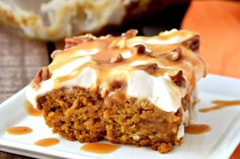 Pumpkin Caramel Poke Cake – Gluten Free, Vegan
