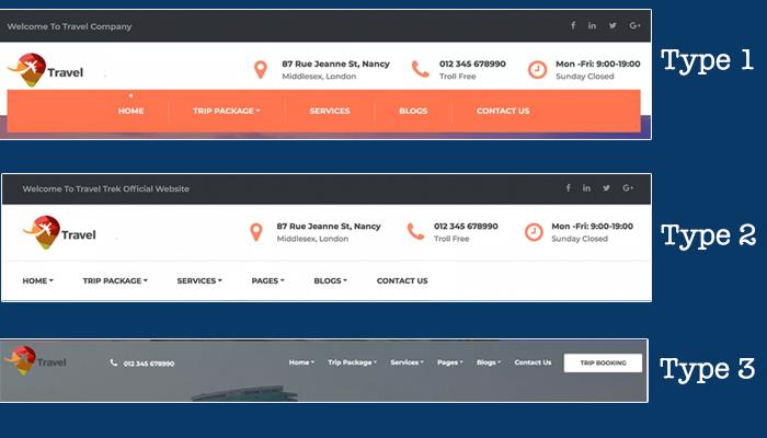 header styles travel company pro