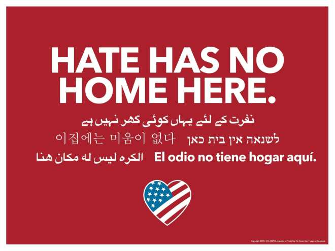 Hate Has No Home Movement  Yard Signs - 18x24