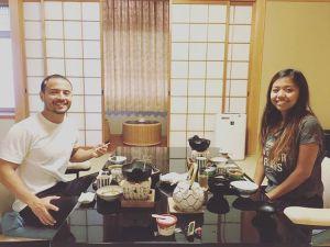 Enjoying a traditional kaiseki dinner at a ryokan in Kyotohellip