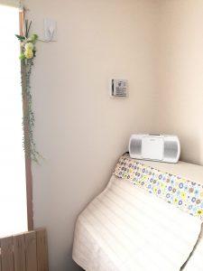 セリア造花 コード隠し 緑 壁飾り
