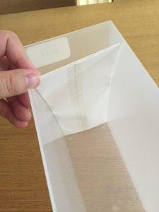 無印PPケースを白色用紙で目隠し ダイソーPPシート 100均でそろえる