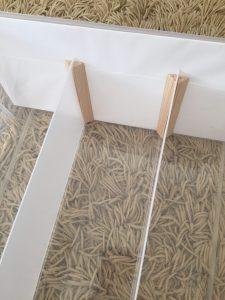 無印PPケース 仕切りを手作り 三角の木材 PPシート ぴってり仕切れる
