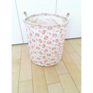 布 花柄 ランドリーケース ランドリーボックス 洗濯物入れ 丸 円形