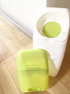 におわなくてポイ 強力消臭オムツポット オムツゴミ箱 オムツ捨てケース アップリカ リメイクシート プチリメイク インテリア壊さない インテリアに馴染む色 黄緑 色変える DAISO ダイソー 100均
