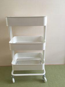 イケア IKEA ワゴン イケアのワゴン 活用方法 活用 収納 整理整頓 白 インテリア シンプルホーム 三姉妹 ブログ