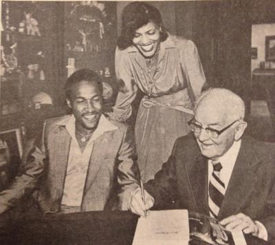 Utah Jazz player Ron Boone meets with LDS Church President Spencer Kimball, 1980.
