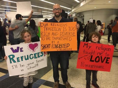 JI editor Benjamin Park and family, Houston Airport (IAH), January 29, 2017