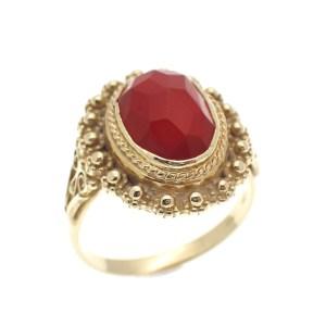 vintage gouden ring met carneool