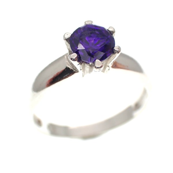 zilveren ring paarse steen