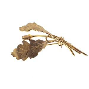 gouden broche eikenblad