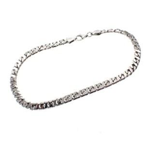 zilveren platte schakel armband