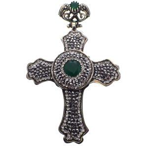zilveren hanger kruis jade