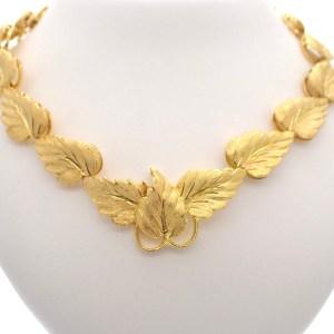 18k gouden vintage ketting bladeren Leaf