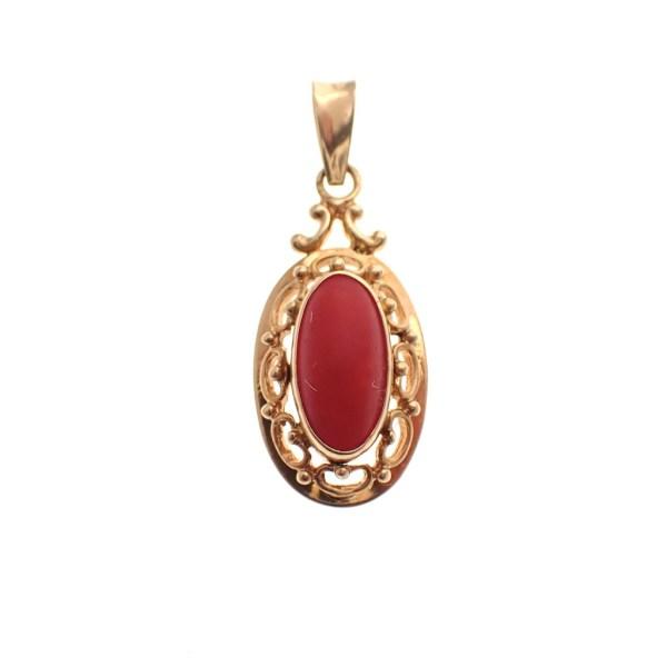 gouden hanger vintage bloedkoraal