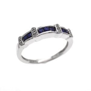 Zilveren rijring donker blauw AG